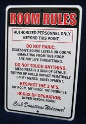 ROOM RULES *US MADE* Embossed Sign Teen Bedroom Man Cave Garage Bar Wall Decor $12.95