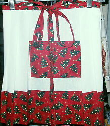 COUNTRY GLIMPSES WOMEN NOVELTY APRONS MED LG CHILD HOLIDAY LINEN COTTON $30.00