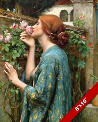 YOUNG WOMAN GIRL SMELLING ROSES FLOWERS OIL PAINTING ART REAL CANVAS PRINT $14.99