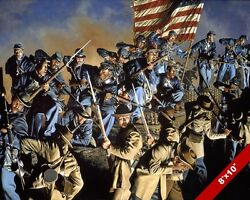 54TH BLACK REGIMENT OF US UNION ARMY CIVIL WAR OIL PAINTING ART CANVAS PRINT