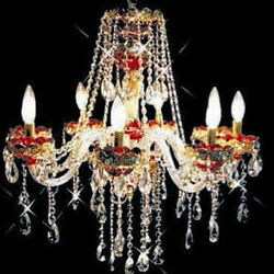 New Chandelier Alexandria Red w 24k Gold Plated 28x26 $1242.40