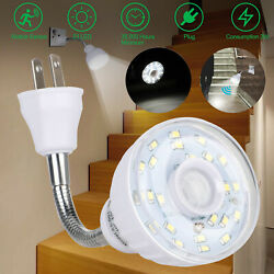 LED Motion Activated Sensor Night Light AC Outlet Plug In Wall Stair Lamp Indoor $10.98