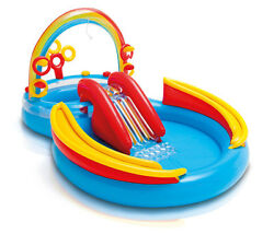 Intex Inflatable Kids PoolWater Play Center wSlide + Quick Fill Air Pump