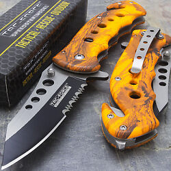 7.75quot; TAC FORCE ORANGE CAMO SPRING ASSISTED TACTICAL FOLDING KNIFE Blade Pocket