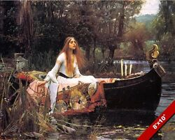THE LADY OF SHALOTT IN BOAT ALFRED TENNYSON POEM PAINTING ART REAL CANVAS PRINT $14.99