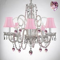 Crystal Chandelier Chandeliers Lighting w Pink Color Crystal Hearts $174.66