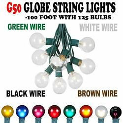 100 Foot G50 Outdoor Patio Globe String Lights -Set of 125 G50 Bulbs- All Colors