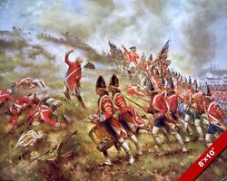 1775 AMERICAN REVOLUTION BATTLE OF BUNKER HILL PAINTING ART REAL CANVA