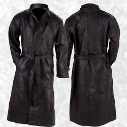 Mens Long Black Leather Button Front Trench Over Coat Full Length Duster Jacket $54.99