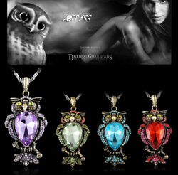Vintage Jewelry Women Crystal Owl Pendant Necklace Long Sweater Chain Charm Gift