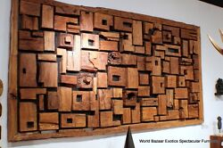 102 W large wall decorative abstract art square sculpture old woods modern