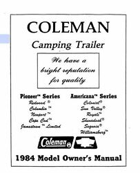 COLEMAN Popup Trailer Owners Manual 1984 Americana Sun Valley Royale Sequoia $21.99