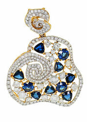 5.56 Ct. 18K Yellow Gold Unique Sapphire and Diamond Ladies Pendant