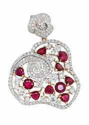 4.39 Ct. 18K Rose Gold Unique Ruby and Diamond Ladies Pendant