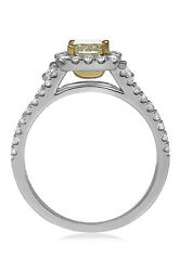 1.25 Ct. 18K White Gold Fancy Yellow Radiant Cut Diamond Engagement Ring