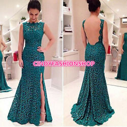 Women Mermai Lace Long Prom Sleeveless Bridesmaid Evening Evening Party Dress