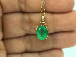 3.55ct Fine AAA Colombian Green Emerald Solitare Pendant Necklace 18K Y.G
