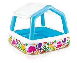 Intex Inflatable Ocean Scene Sun Shade Kids Swimming Pool With Canopy  57470EP