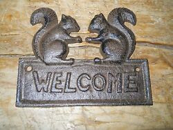 Cast Iron SQUIRREL WELCOME Plaque Sign Rustic Ranch Wall Decor $8.99