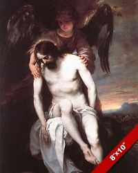 ANGEL SUPPORTING JESUS CHRIST PAINTING BIBLE CHRISTIAN ART REAL CANVAS PRINT $12.99