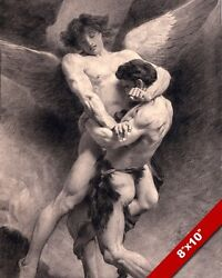JACOB WRESTLING WITH AN ANGEL PAINTING BIBLE CHRISTIAN ART REAL CANVAS PRINT $12.99
