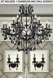 3pc Lighting Set Jet Black Crystal Chandelier and 2 Wall Sconce $815.66