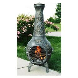 NEW Beautiful Long Grass Antique Pewter Butterfly Chiminea By Oakland Living