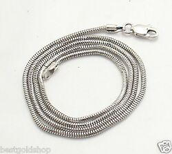 1.4mm Solid Round Snake Chain Necklace Real 14K White Gold ALL LENGTHS $255.00