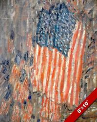 AMERICAN FLAGS HANGING IN NEW YORK CHILDE HASSAM PAINTING ART REAL CANVAS PRINT $14.99