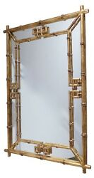Antique Gold Iron Fretwork Bamboo Wall Mirror Asian Elegant Hollywood Regency $395.00