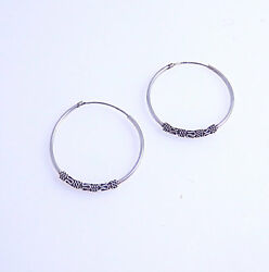 Large Hoop Sterling Silver Pierced Earrings With Design at Bottom