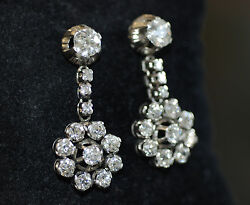 Classic Victorian 6.7ct Old Miner Diamond Floral Cluster Dangle Earrings PLT