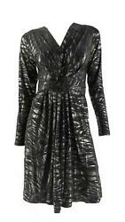 Designer Black Gold Metallic Knee Length Wrap Dress Womens size S M Stretch CHOP