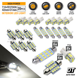 20X White LED Light Interior Package Kit for T10 & 31mm Map Dome + License Plate $9.99