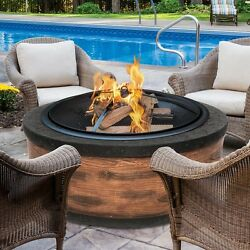 Wood Burning Fire Pit Cast Stone Round Modern Outdoor Fire Place Heat Bowl Relax