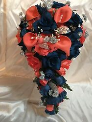 Coral Navy Marine Blue Calla Lily Cascade Wedding Bridal Bouquet Package 43pc