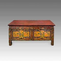 ANTIQUE MONK#x27;S WRITING TABLE PAINTED PINE TIBET CHINESE FURNITURE 19TH C. $2695.00