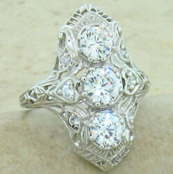 ART DECO CLASSIC ANTIQUE STYLE 925 STERLING SILVER CZ RING SIZE 8 #847 $31.40