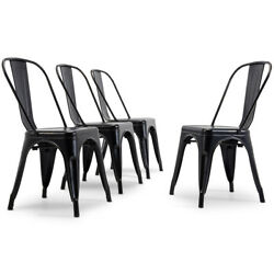 Antique Black Set of 4 Metal Chairs Stackable Dining Room Chairs Indoor Outdoor $149.99