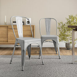Modern Kitchen Set of 4 Dining Chairs High Back Gray Metal Dining Chair Retro $109.99