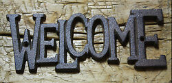 Cast Iron Antique RUSTIC Style WELCOME Plaque Sign GARDEN Ranch Wall Decor $8.99