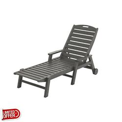 SALE POLYWOOD Nautical Slate Grey Wheeled Patio Chaise Lounge Lounges