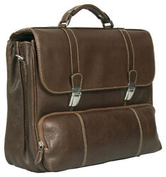 TRENDY EXECUTIVE DARK BROWN ITALIAN REAL LEATHER BRIEFCASE LAPTOP BAG