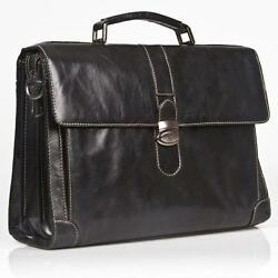 ITALIAN BLACK REAL LEATHER SOFT BRIEFCASE  15