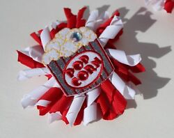 Novelty Kids Hair Clip Popcorn curly bow Fun movies itsallonmyhead Made in USA $3.50