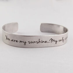 You Are My Sunshine Engraved Cuff Bracelet - Stainless Steel - Double-sided Song