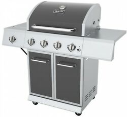 Propane 4 Burner Grill Silver Finish BBQ Barbecue Outdoor Cooking Kitchen Stove
