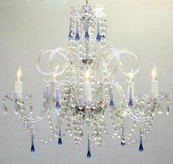 BLUE CRYSTAL CHANDELIER CHANDELIERS LIGHTING $145.19