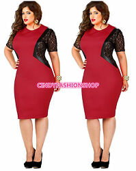 New Women O Neck Lace Inset Evening Cocktail Plus Size Party Bodycon Dress $23.88