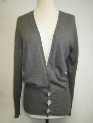 ETRO gray cashmere blend cardigan top w metallic threading Size 40S-M NICE!